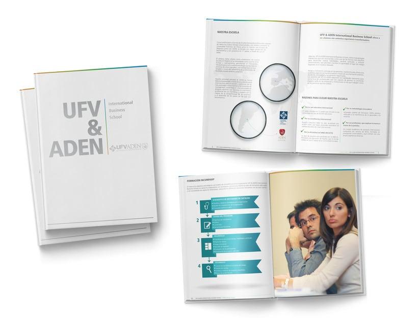 Creación de folleto corporativo y trípticos comerciales para escuela de negocios UFV - ADEN (2014) 1