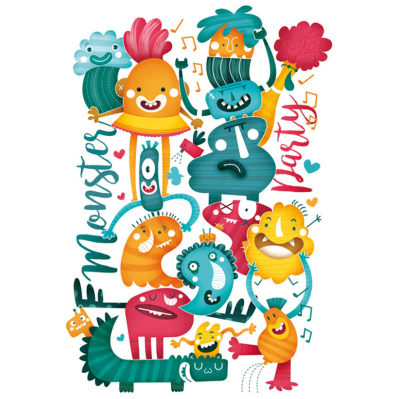 MonsterParty. Ilustración infantil 1