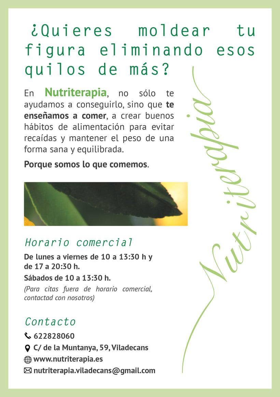 Flyer, tríptico y catálogo para Nutriterapia 0