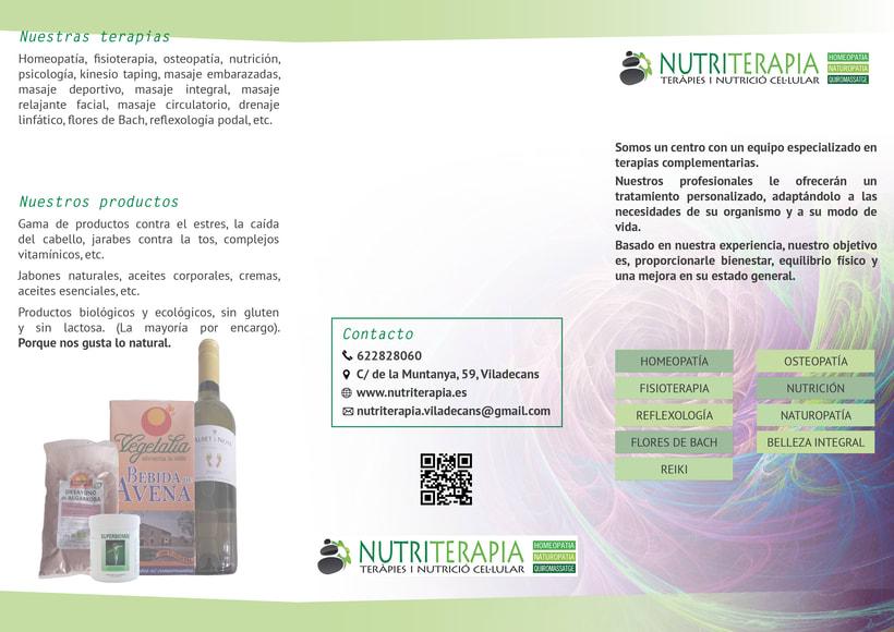 Flyer, tríptico y catálogo para Nutriterapia 3