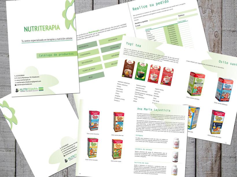 Flyer, tríptico y catálogo para Nutriterapia 4