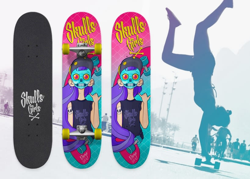 """Skulls Girls"" skateboards by DOGO Impulsive Design 0"