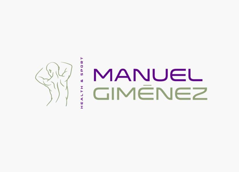 Diseño de logotipo para Manuel Giménez, un entrenador personal, quiromasajista y asesor de nutrición que contactó con nosotros porque estaba a punto de abrir su propio local después de estar años trabajando para distintos gimnasios. 1
