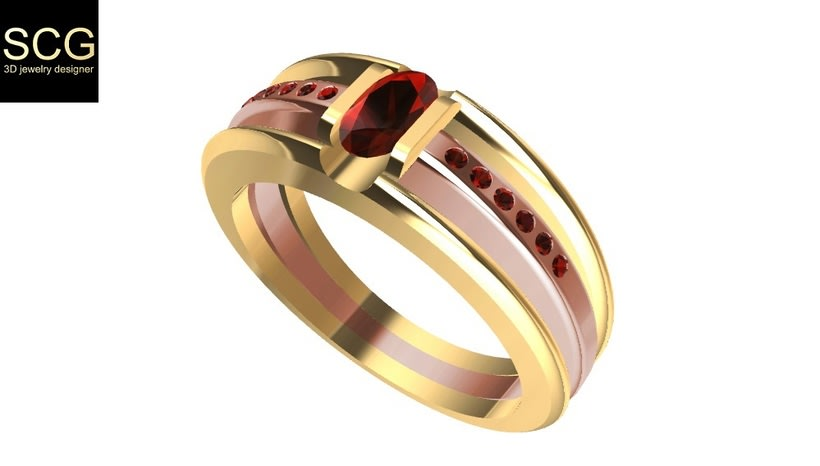Bicolor ring with gems -1