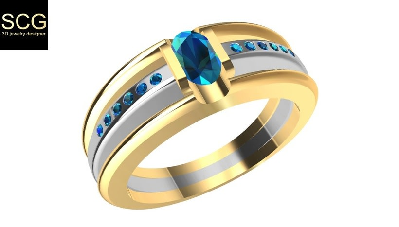 Bicolor ring with gems 2
