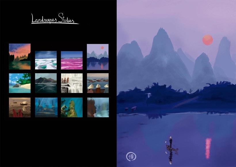 Escena y estudios de paisajes naturales. 1