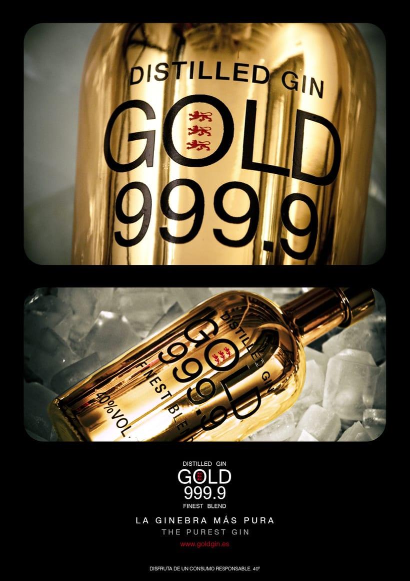 Piezas Off/On para la marca de ginebra premiun 'Gin Gold 999.9' 0
