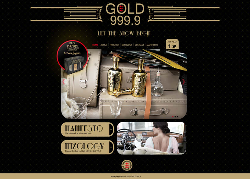 Piezas Off/On para la marca de ginebra premiun 'Gin Gold 999.9' 1