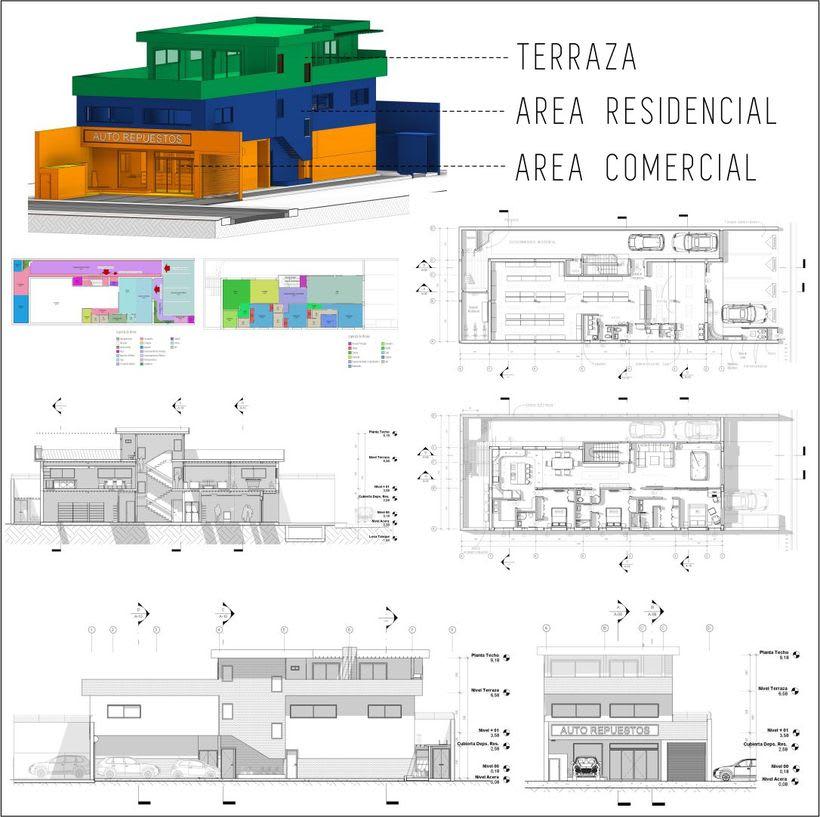 Diseño arquitectónico Vivienda Unifamiliar y Local Comercial. 5