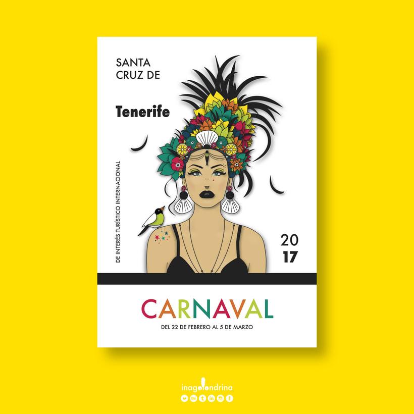 """Canaria"" Cartel Carnaval Tenerife'17 / Prototipo / A1 -1"