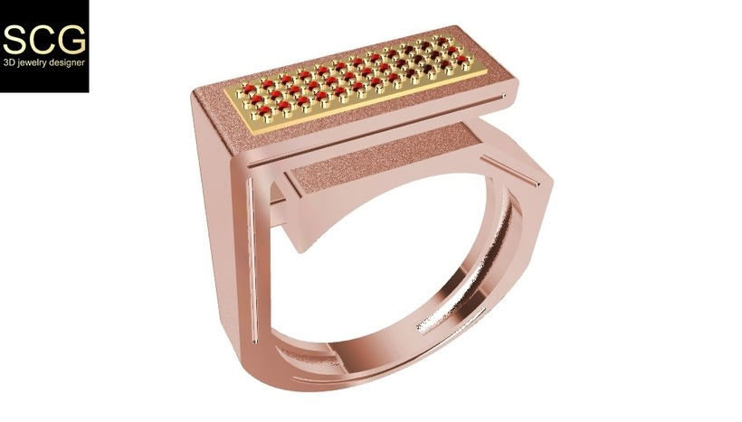 Bicolor ring with gems... -1