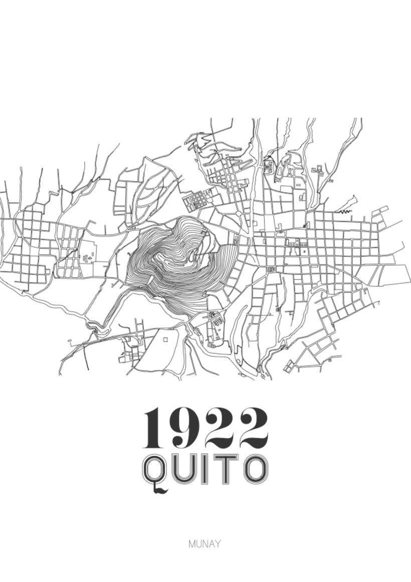 Serie de mapas inspirados en planos hechos a mano de Quito. -1