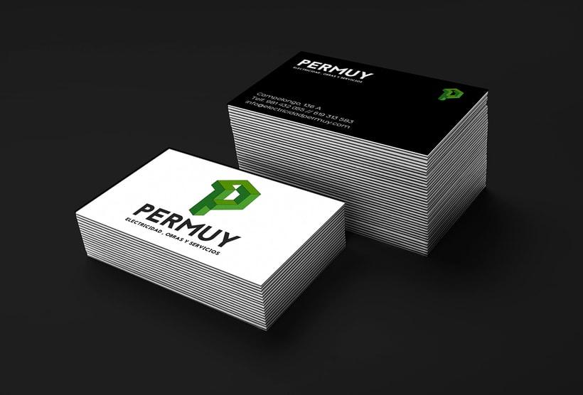 Diseño de Logo y tarjetas para la empresa Permuy (electricidad, obras y servicios) 1