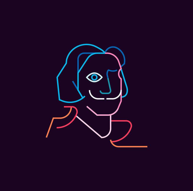 Los retratos del arte a base de línea y color 3