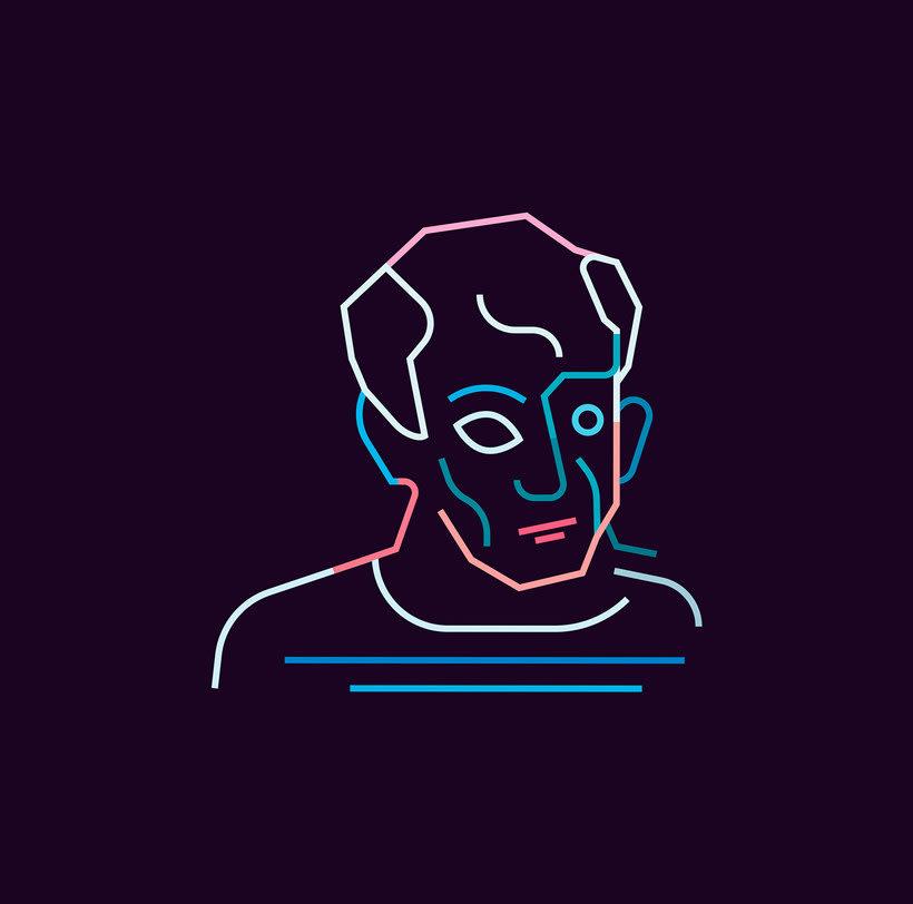 Los retratos del arte a base de línea y color 5