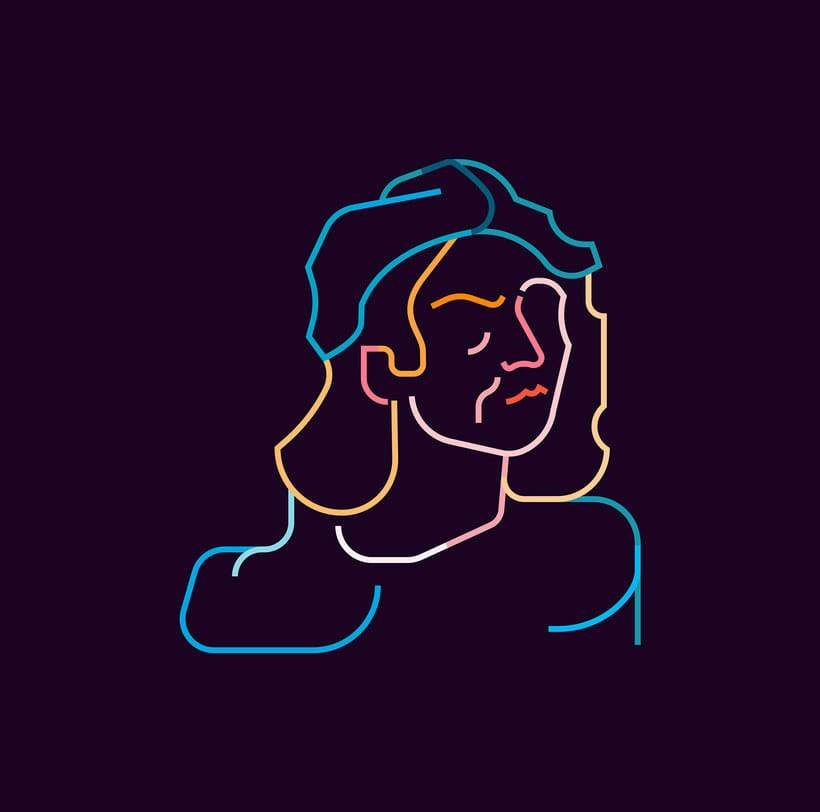 Los retratos del arte a base de línea y color 6