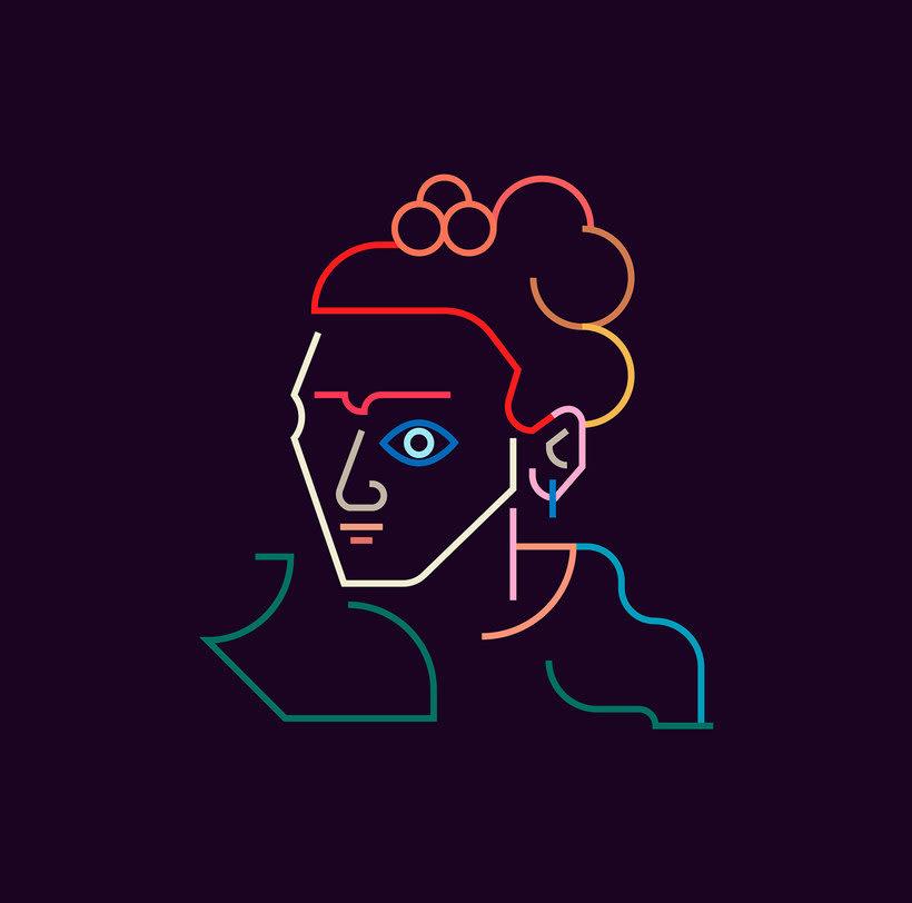 Los retratos del arte a base de línea y color 8