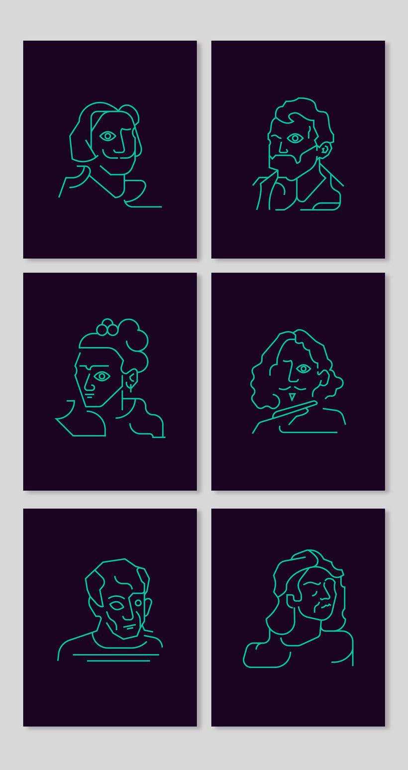 Los retratos del arte a base de línea y color 9