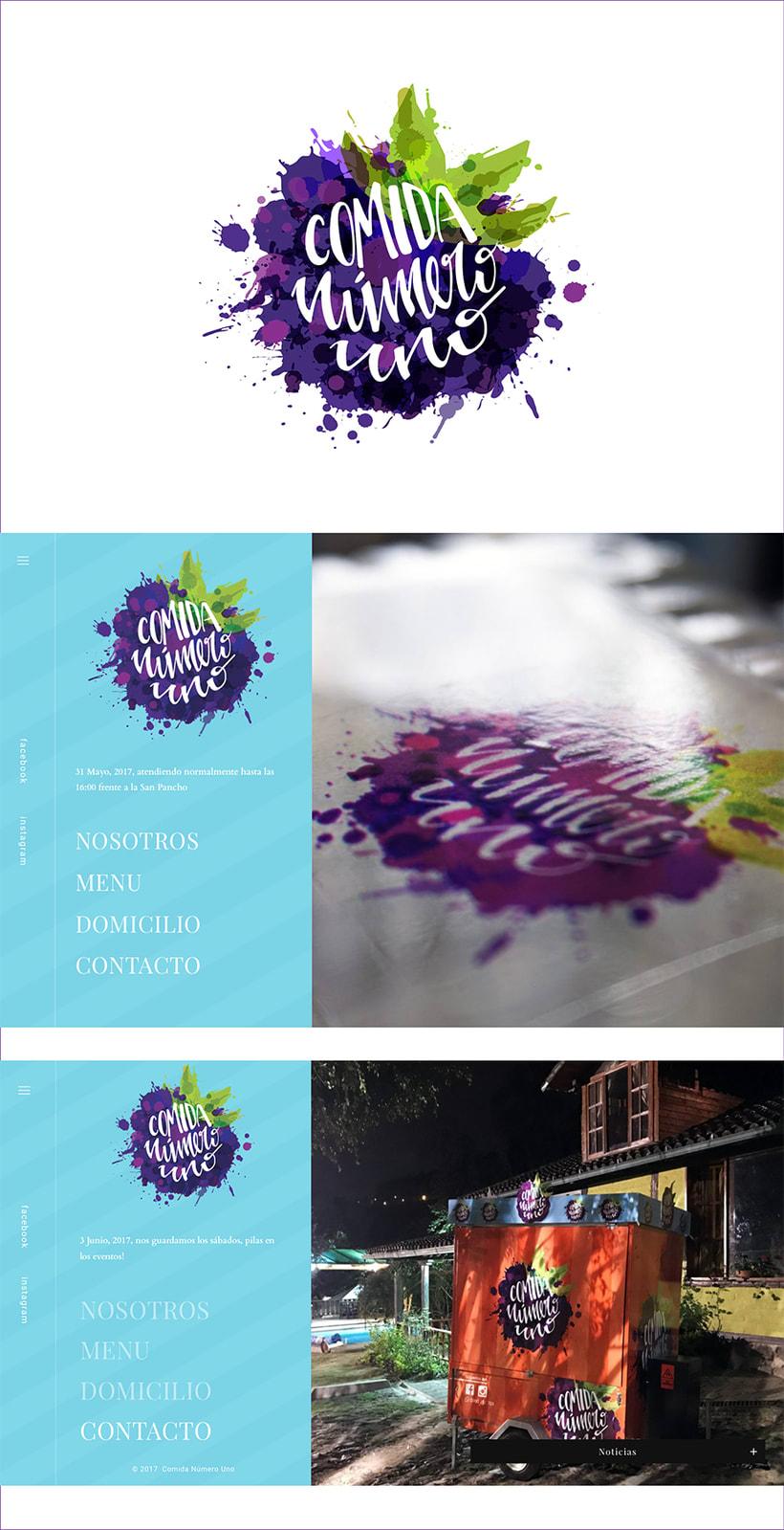 Lettering logo Comida número uno. 0