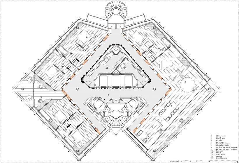 Diseño interior de vivienda en torre de oficinas 4