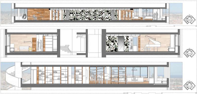 Diseño interior de vivienda en torre de oficinas 5