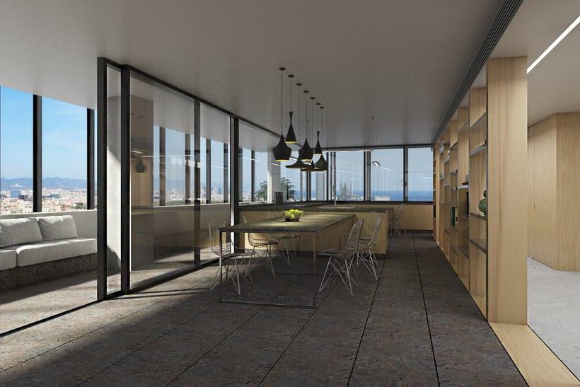 Diseño interior de vivienda en torre de oficinas 8