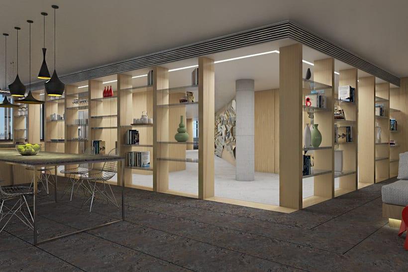 Diseño interior de vivienda en torre de oficinas 9