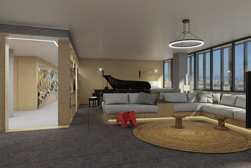 Diseño interior de vivienda en torre de oficinas 10