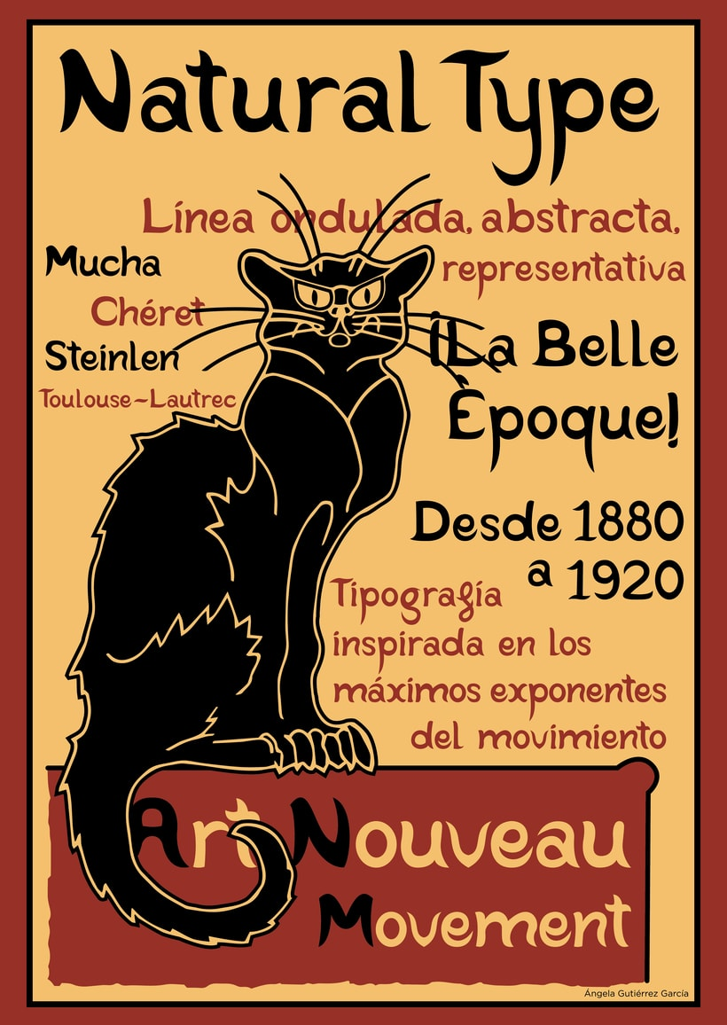 Cartel promocional tipografía Natural Type - inspirado en el cartel de Chat Noir -1