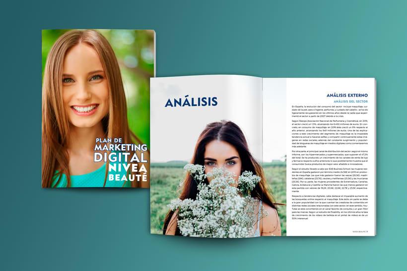 Maquetación estilo revista - Plan de Marketing Digital NIVEA Beauté 0