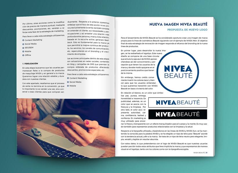 Maquetación estilo revista - Plan de Marketing Digital NIVEA Beauté 1