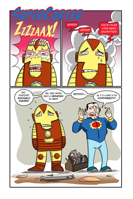 Mi Proyecto del curso: Humor gráfico para principiantes  El virus WannaCry afecta también a los superHéroes -1