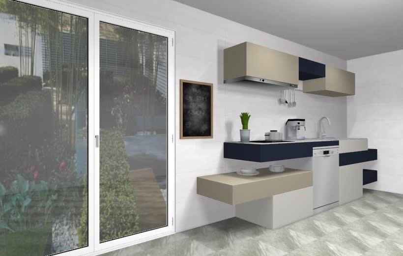 Diseño de cocina moderna de lineas horizontales | Domestika