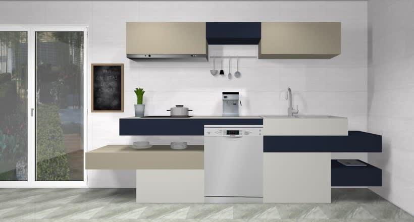 Diseño de cocina moderna de lineas horizontales  0