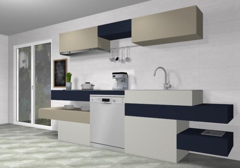 Diseño de cocina moderna de lineas horizontales  1