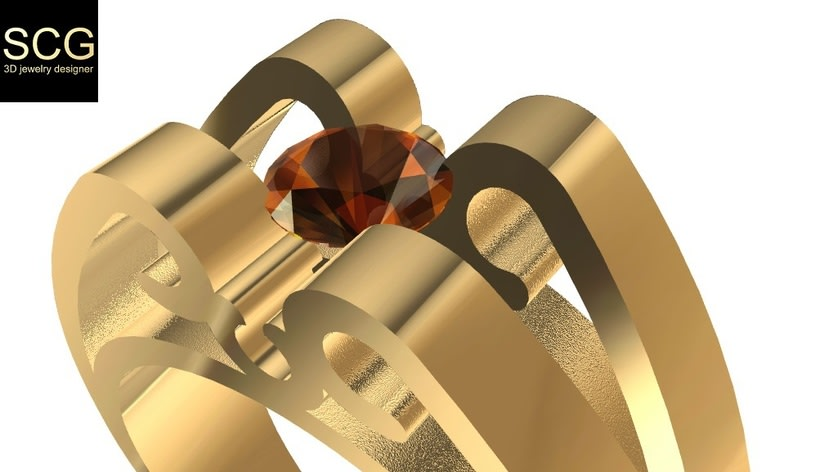 Ring with gem -1