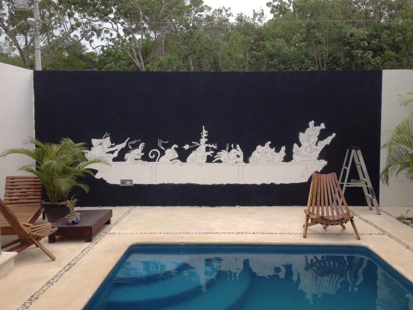 Canoa Cósmica / Pintura Mural 0