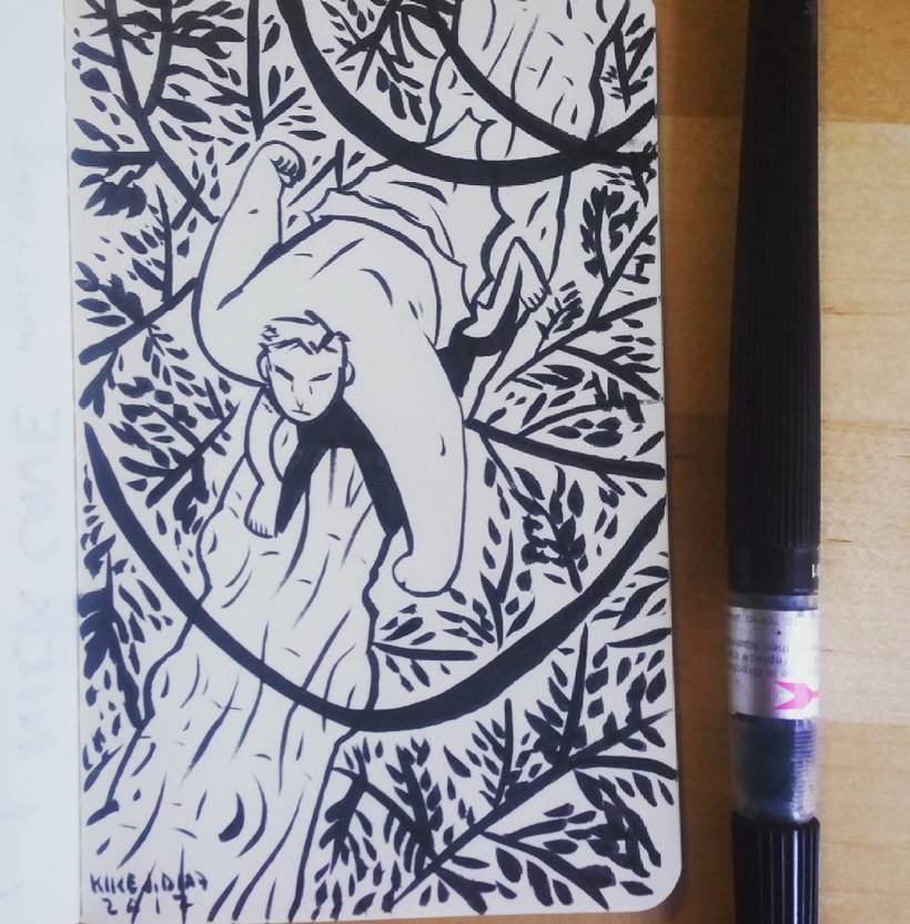 Sketch Tarzan sobre jungla en mini-libreta 0