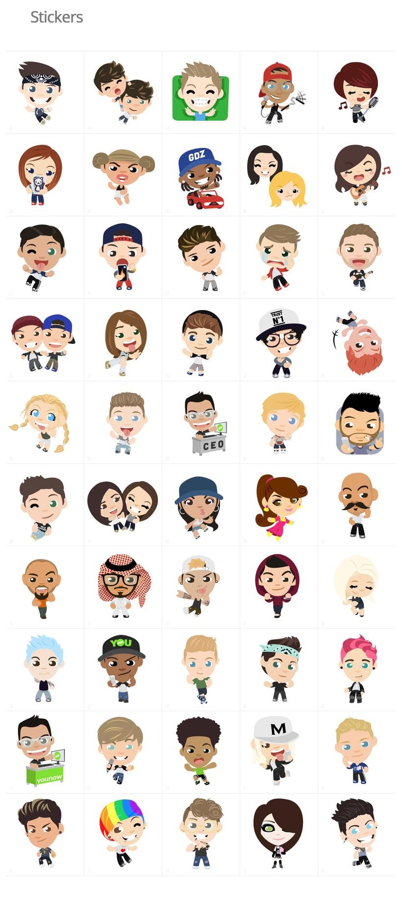 Stickers e iconos para YouNow 0