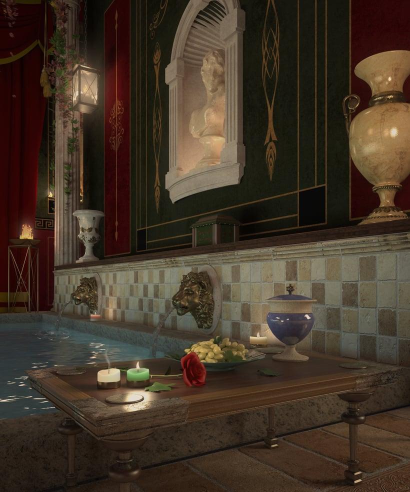 Recreación 3D baño romano 2