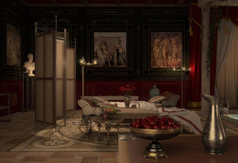 Recreación 3D baño romano 3