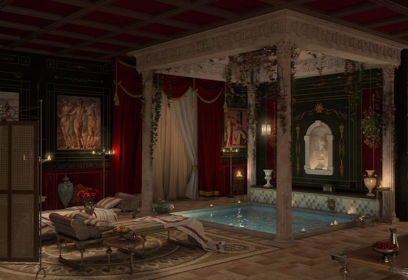 Recreación 3D baño romano 4