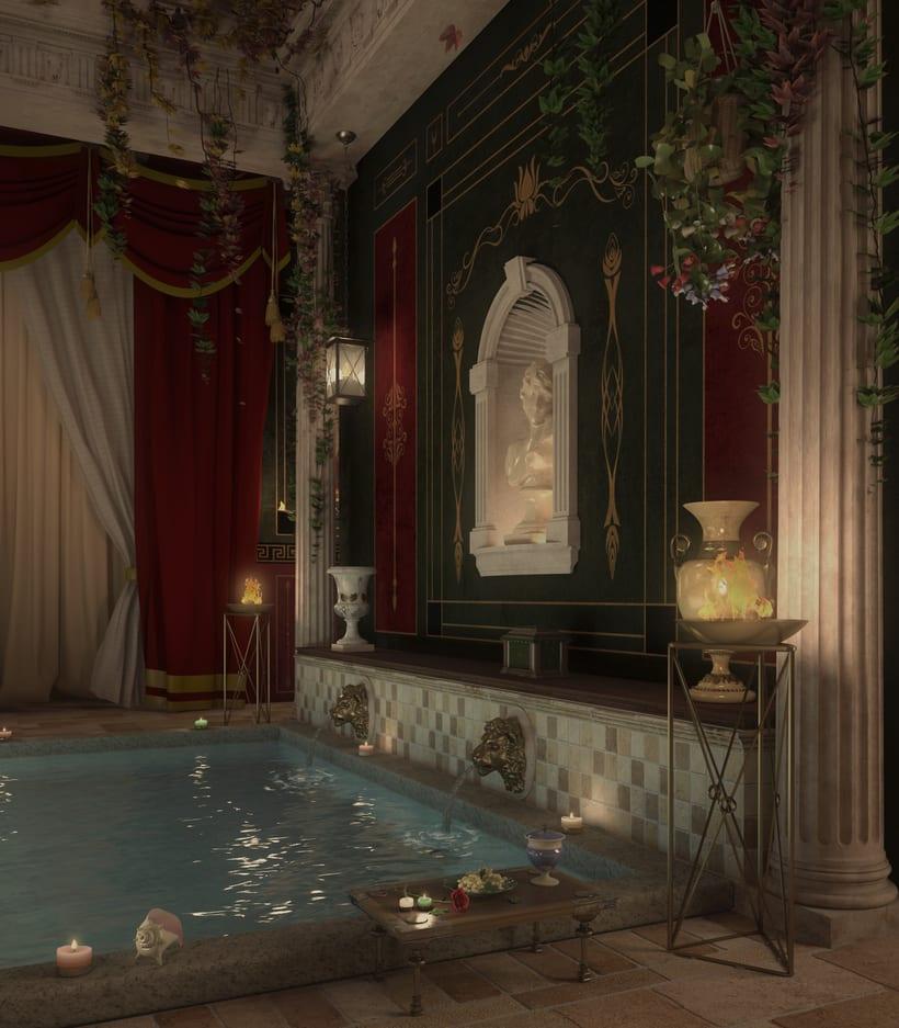 Recreación 3D baño romano 5