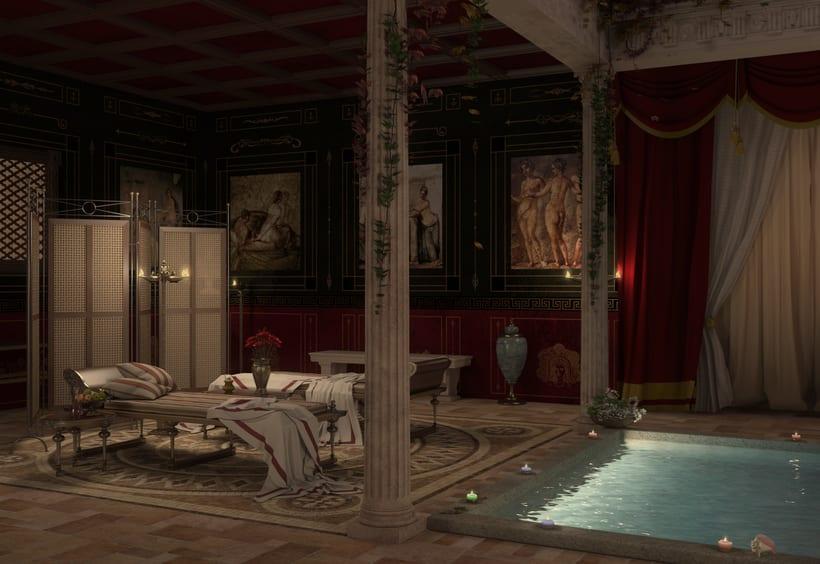 Recreación 3D baño romano 8
