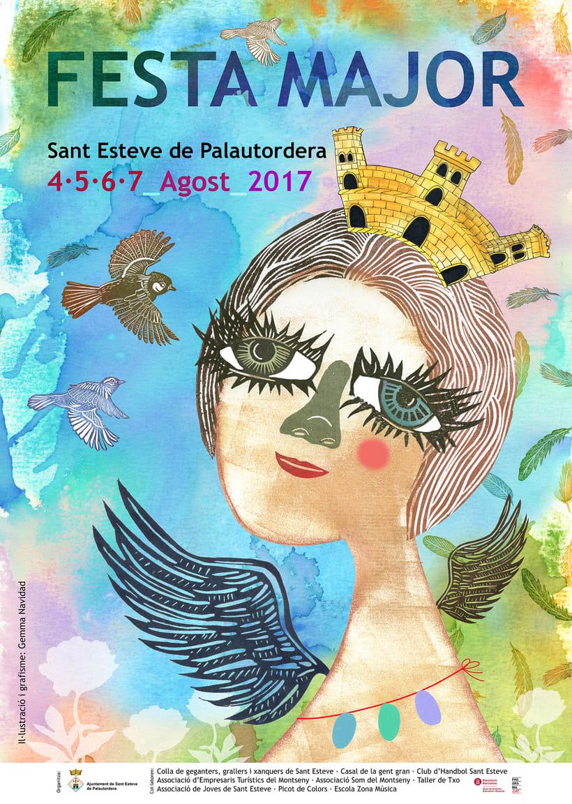 Cartel para la Fiesta Mayor de Sant Esteve de Palautordera 2017 utilizando la técnica del carvado de sellos y  estampación -1