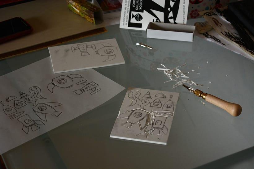 Cohetes: Carvado de sellos y técnicas de estampación 2