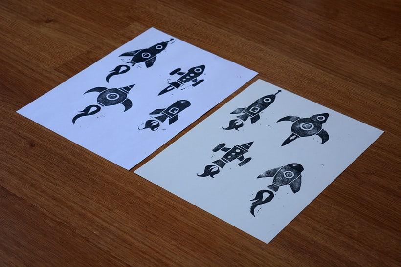 Cohetes: Carvado de sellos y técnicas de estampación 4