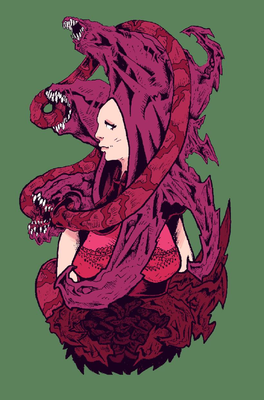 Ilustración- La chica de las boquitas. 0