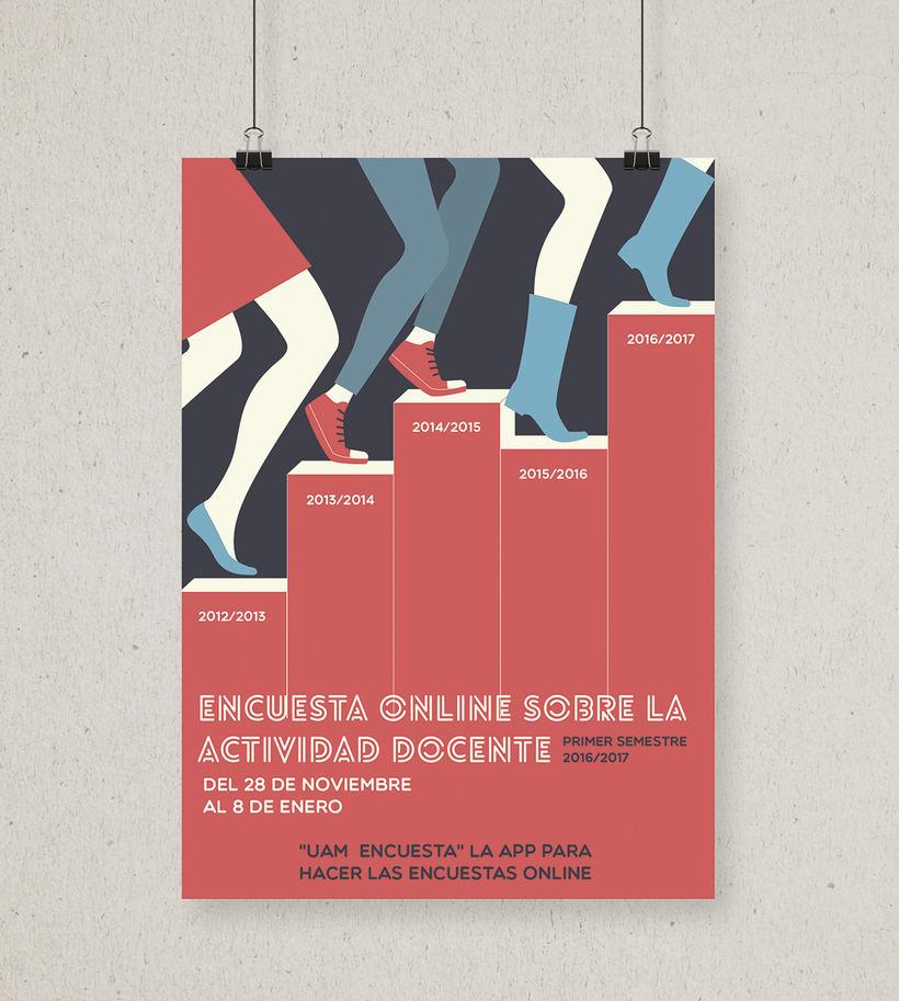 Cartel para promocionar la actividad de encuestas online de la Universidad Autónoma de Madrid -1