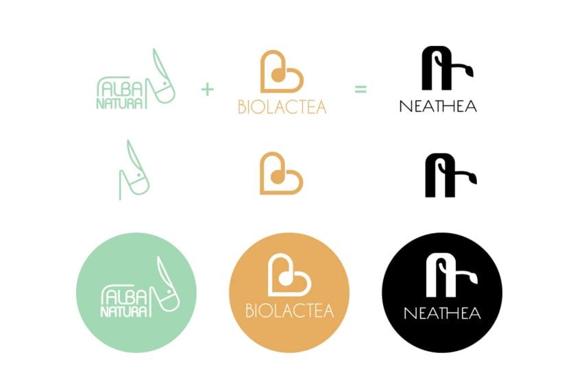 Logotipos, branding, diseño de flyers y de packagings que conforman la empresa NEATHEA (Alba Natura y Bioláctea) -1